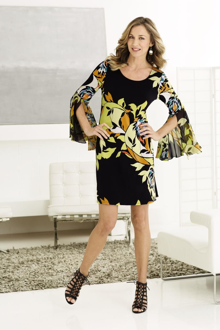 These Bell Sleeves On This Msk Dress Are Sure To Be A Show Stopper