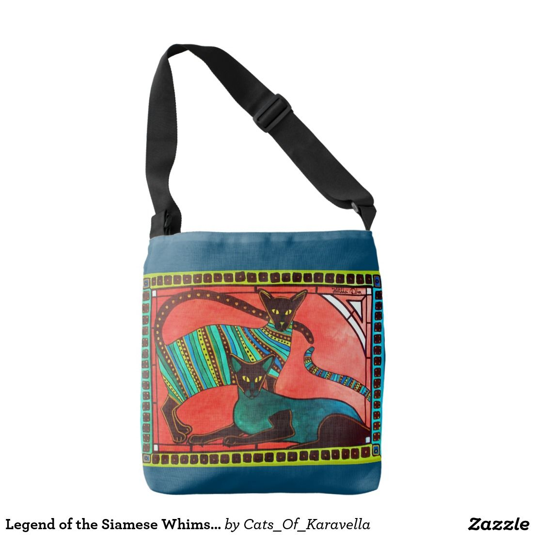 Legend of the Siamese Whimsical Cat Designs Crossbody Bag. Cat paintings by Dora Hathazi Mendes. Cat Designs by Cats of Karavella for #catlovers by #dorahathazi
