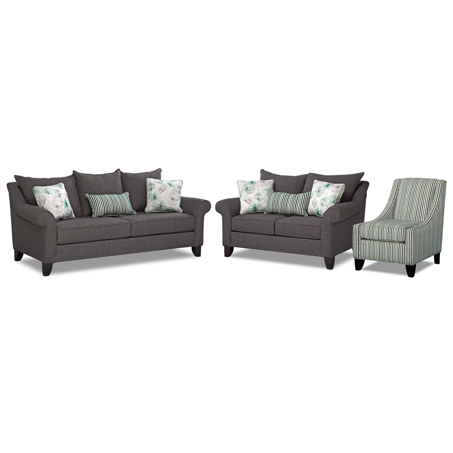 Swell Jasmine 3 Pc Living Room W Accent Chair American Ncnpc Chair Design For Home Ncnpcorg