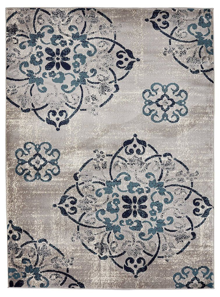 Medallion Design Gray Grey Navy Teal Beige Area Rugs Medallion Design Beige Area Rugs Area Rugs