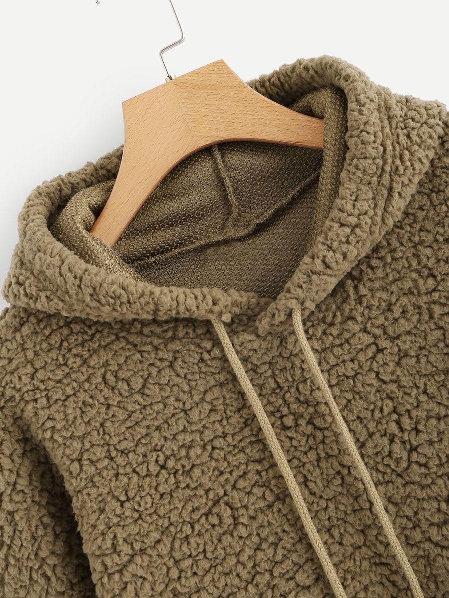 799de4c503 Solid Hooded Teddy Sweatshirt -SheIn(Sheinside) | Into the Wardrobe ...