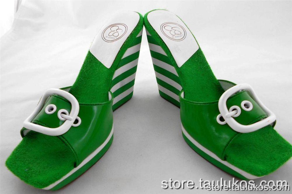 Womens JESSICA SIMPSON Green St Patrick Wedge High Heel Platform Sandals 8.5 M #JessicaSimpson #PlatformsWedges
