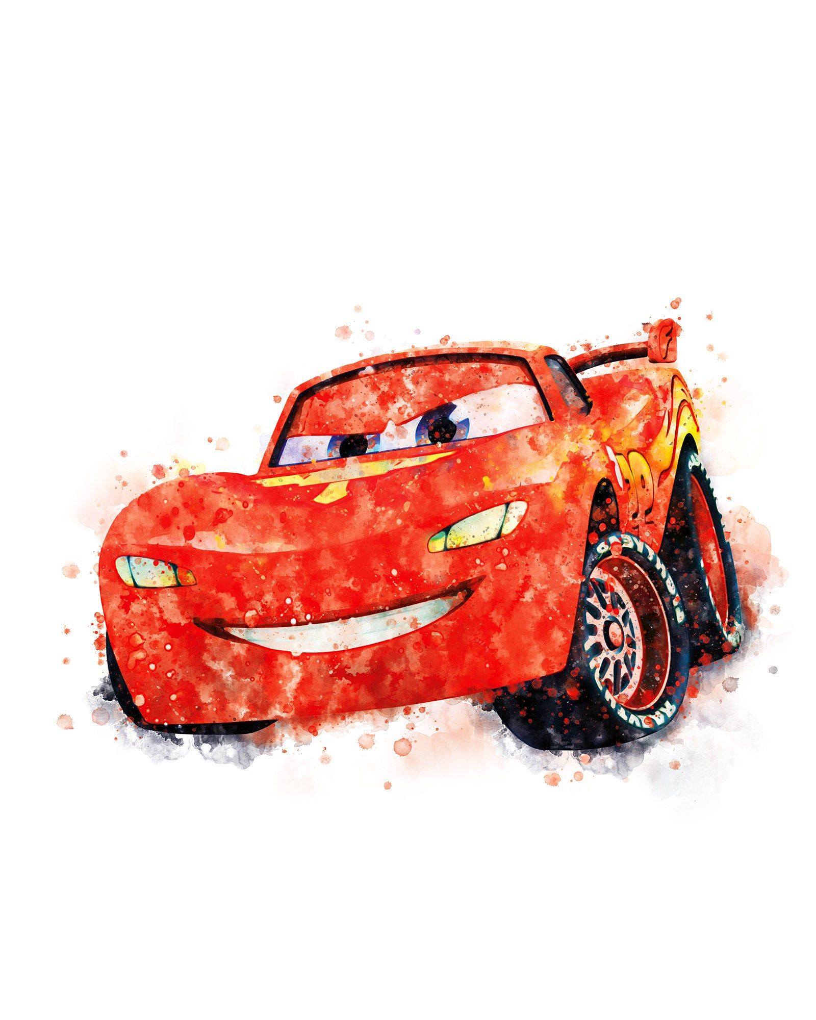 Lightning Mcqueen Watercolor Print Disney Cars Artwork Etsy