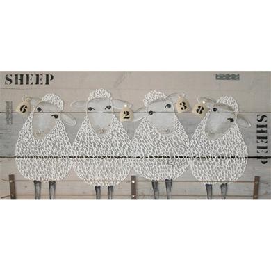 schilderij schapen steigerhout schaapjes tellen in de kinderkamer, Deco ideeën