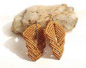 Macrame Earrings - Earthy Beaded Earrings