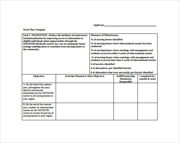 Work Plan Template Free Download  Dashboards