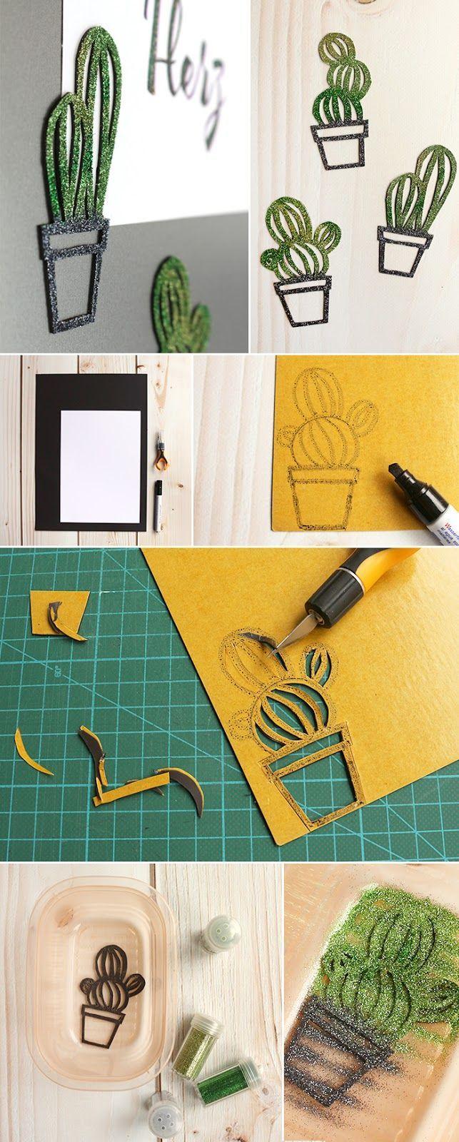 Do it yourself magnete in kakteenform aus magnetfolie basteln diy deko pinterest - Papierlampe kinderzimmer ...