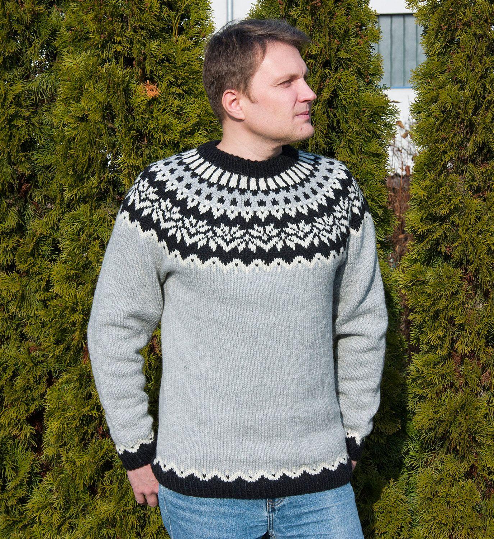 Handmade Knit Mens Pullover Icelandic Lopapeysa | Hand-knitted ...