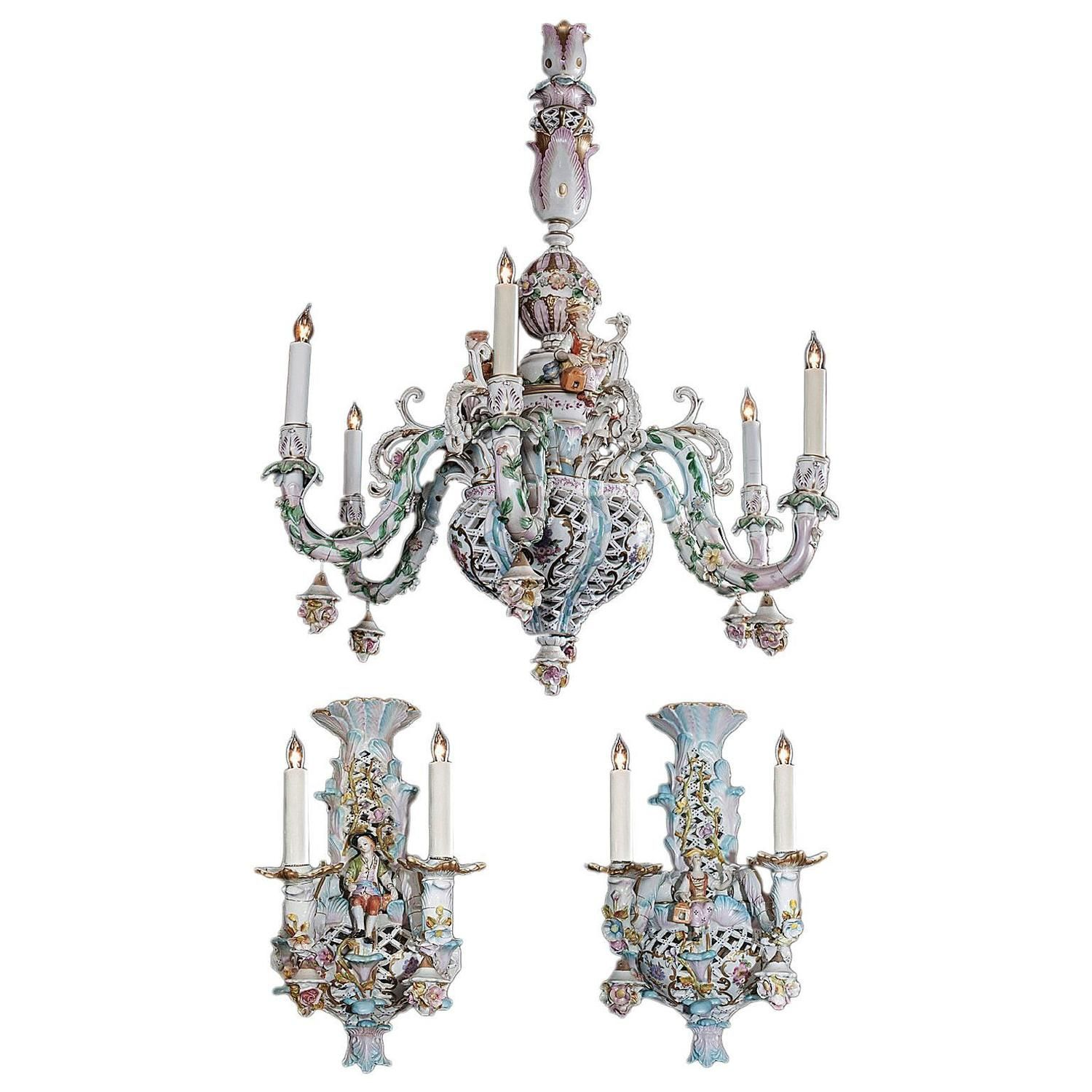 Capodimonte Italian Porcelain Chandelier And Sconces
