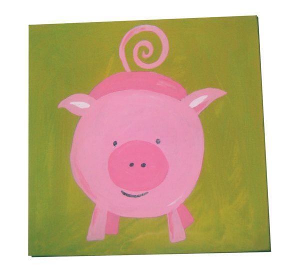 Farm Animals Pig Canvas / Children's Art / Kids Painting / Nursery Decor