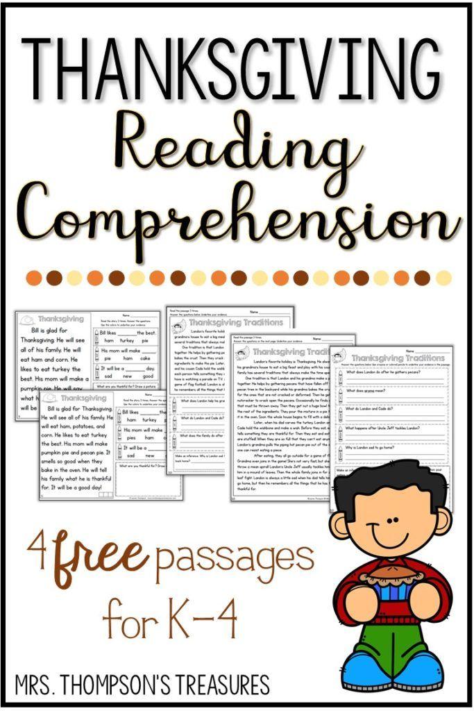 Free Thanksgiving Reading Comprehension - Classroom Freebies