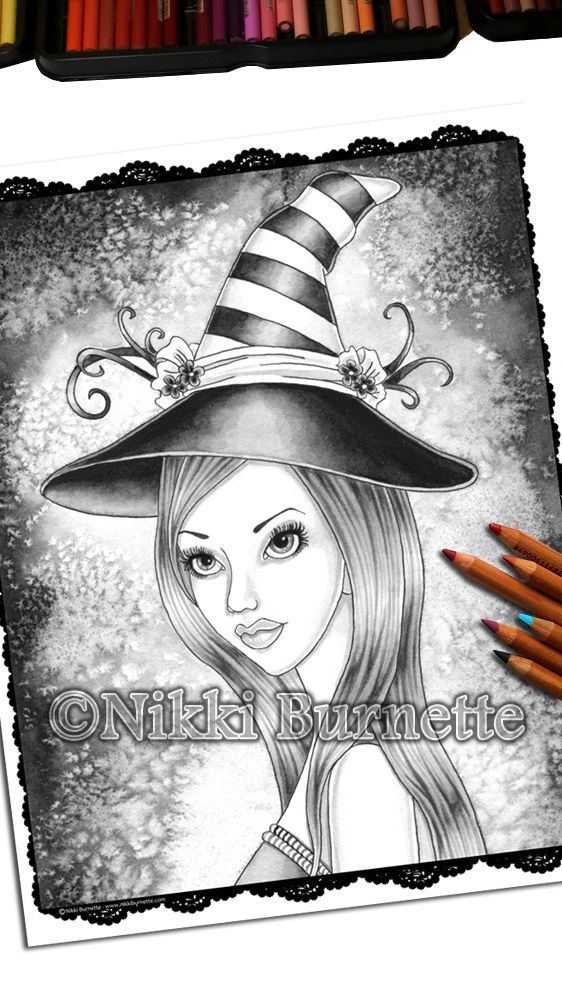 Esme - Grayscale Coloring Page Pinterest Colored pencils