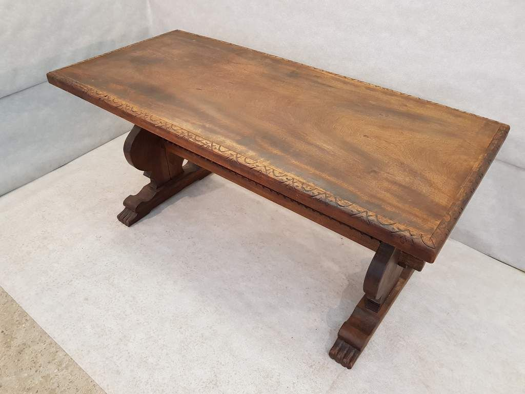 Small Antique French Mid 19th Century Carved Oak Trestle Dining Table Very Old And Rare French Farmhouse Table Coffee Table Farmhouse Vintage Dining Table