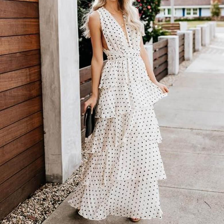Womens Ladies Summer Polka Dot Boho Spotted Holiday Sleeveless Maxi Long Dress