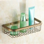 Photo of Vintage Style Brass Wall Mounted Shower Soap Storage Baskets Rack Bathroom Shelf…