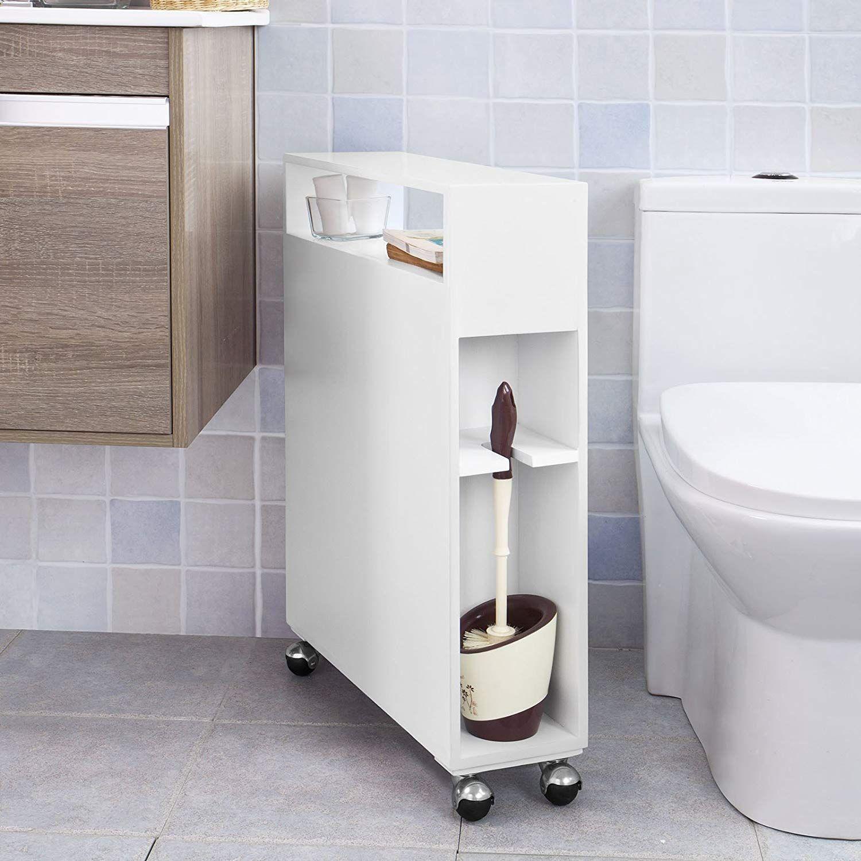 dernier choisir véritable codes promo SoBuy® FRG51-W Meuble de rangement à roulettes WC, Porte ...