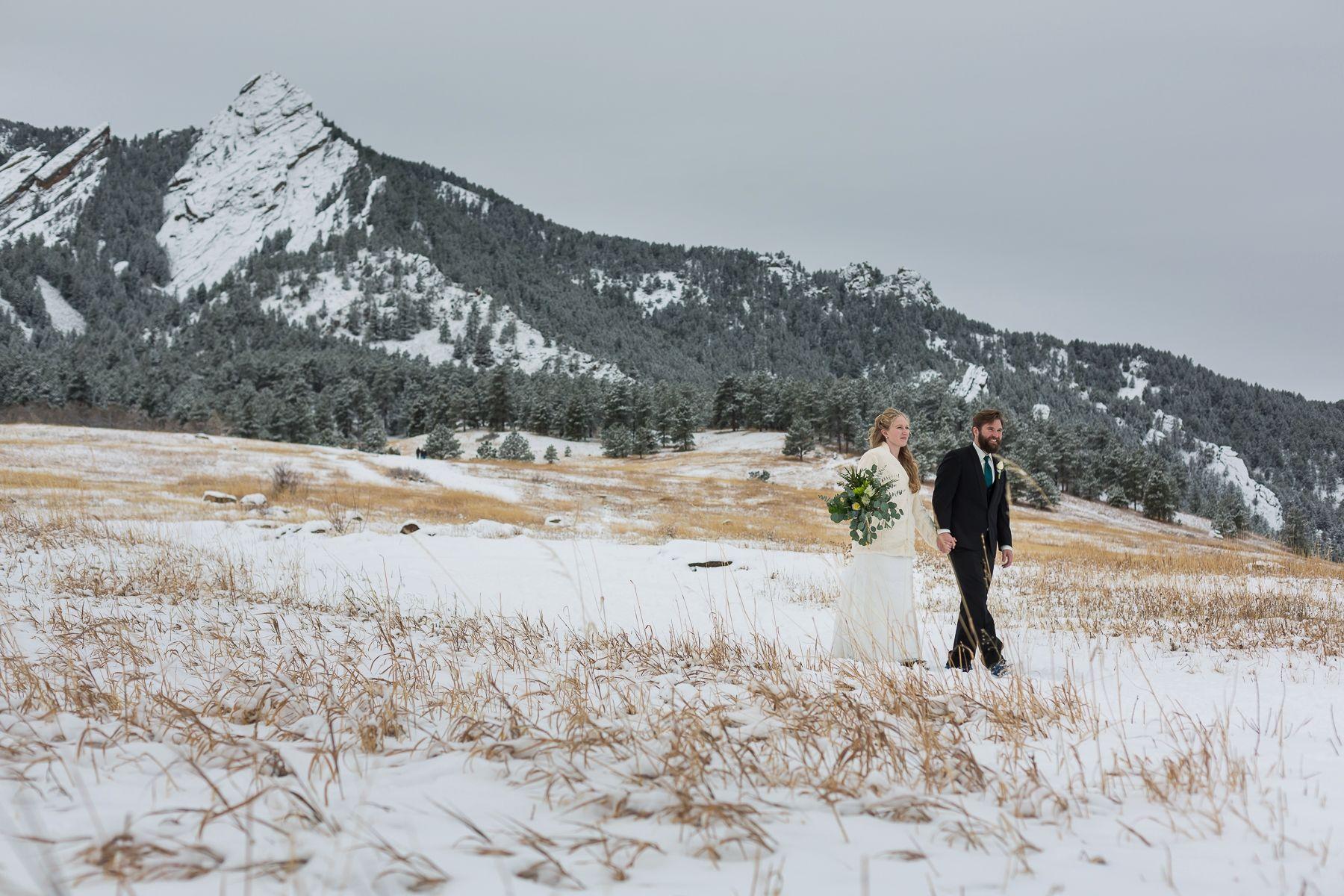 Natalie and Rick's Boulder Winter Wedding Mountain