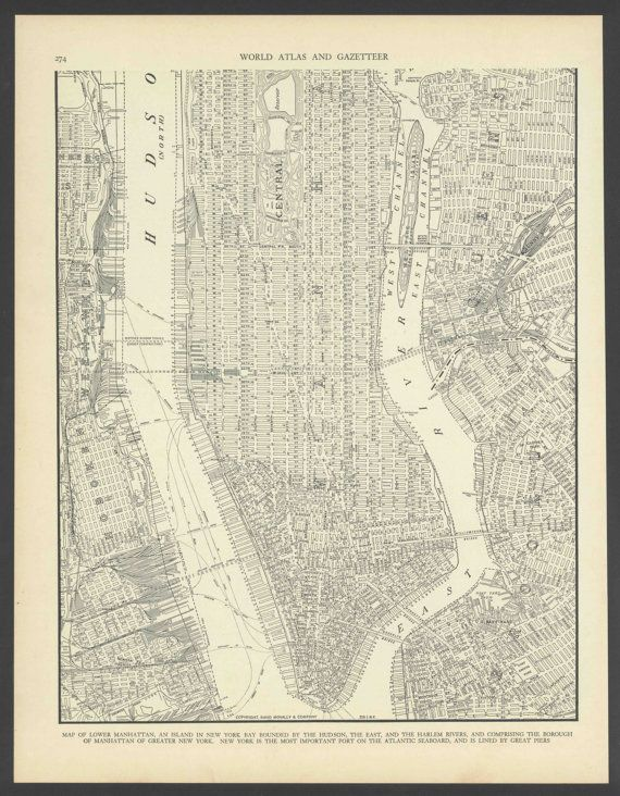 Vintage Street Map Lower Manhattan New York City New York From 1937 Original Vintage Map Street Map Manhattan New York
