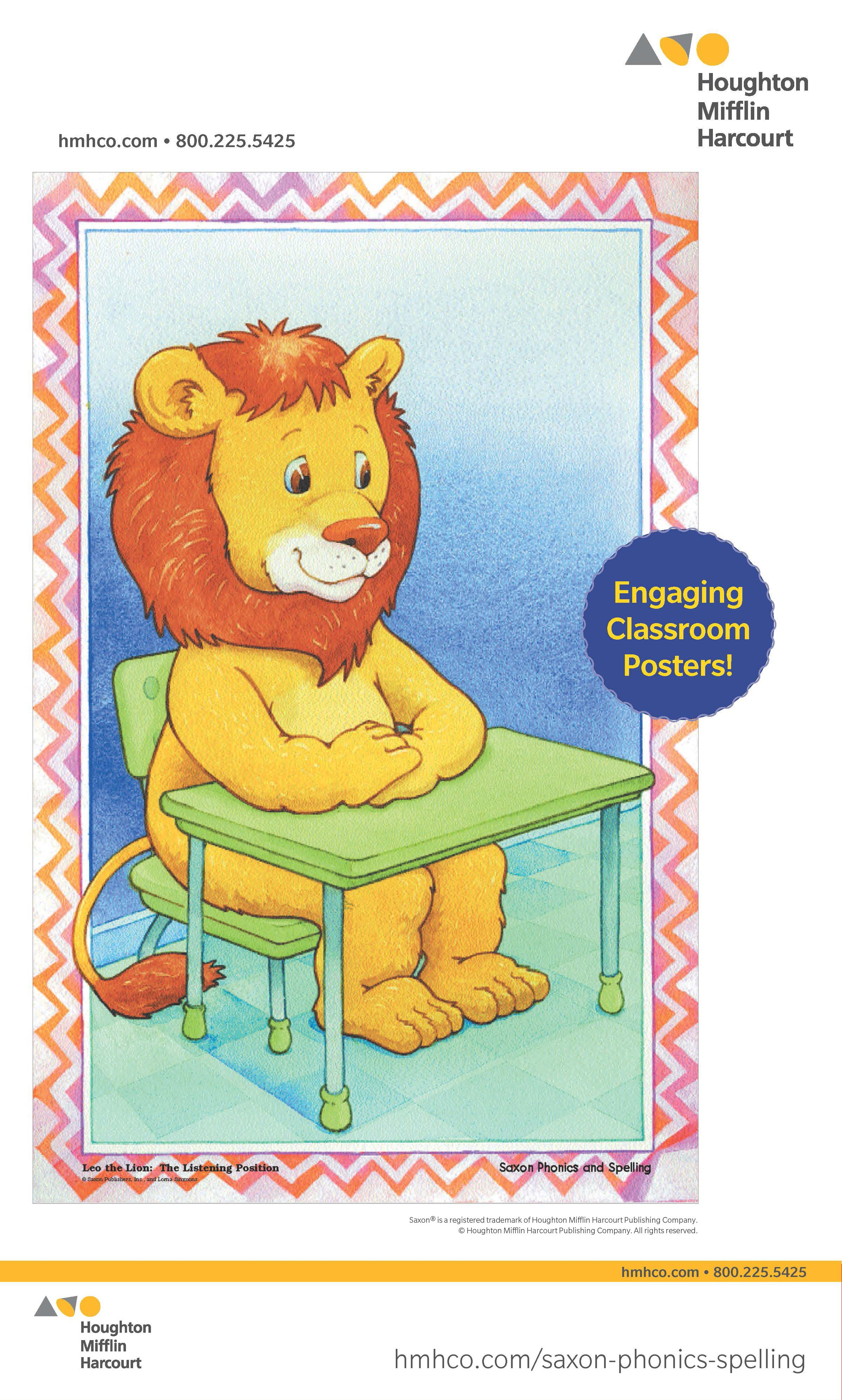 Leo the Lion shows how to use The Listening Position, with arms folded on  the desk and eyes on the teacher.