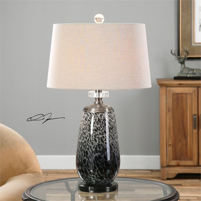 Reverse painted mottled charcoal glass lamp with plated brushed black nickel details crystal accents