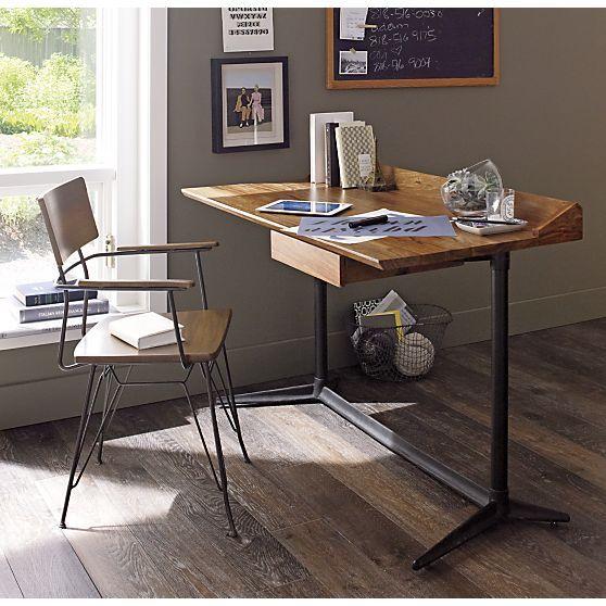Spence Desk In Desks Crate And Barrel Modern Home Office Desk