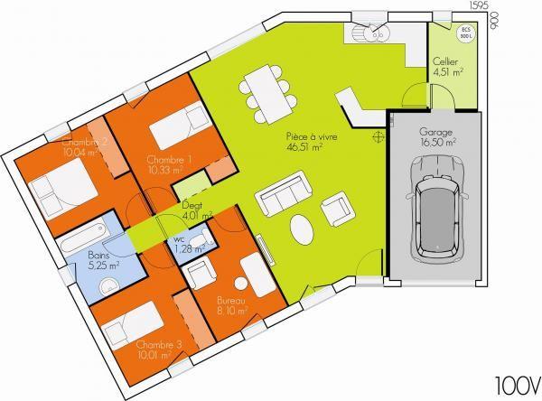 Plan De Maison Plein Pied En V | Plan Maison | Pinterest | Maison
