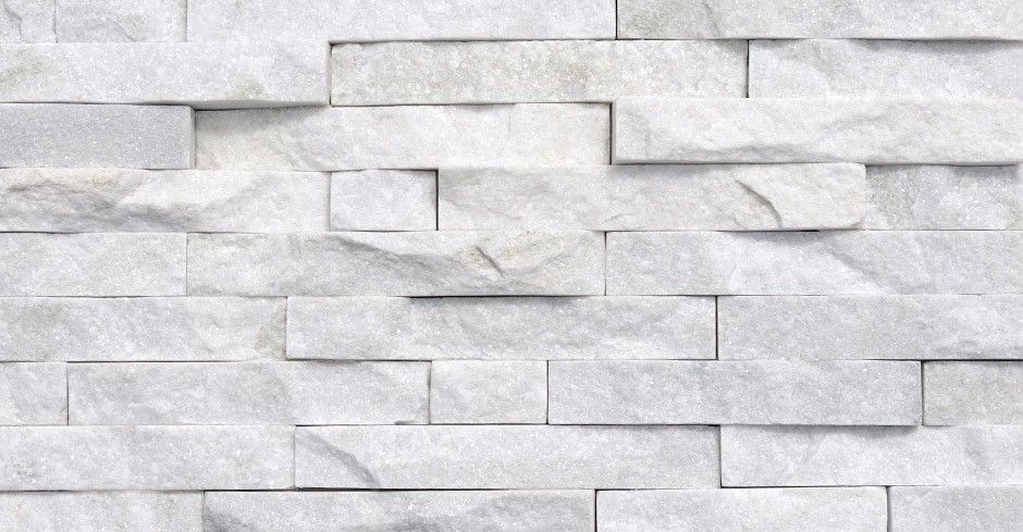 White Quartzite Split Face Mosaic Tile - Stone Wall ...