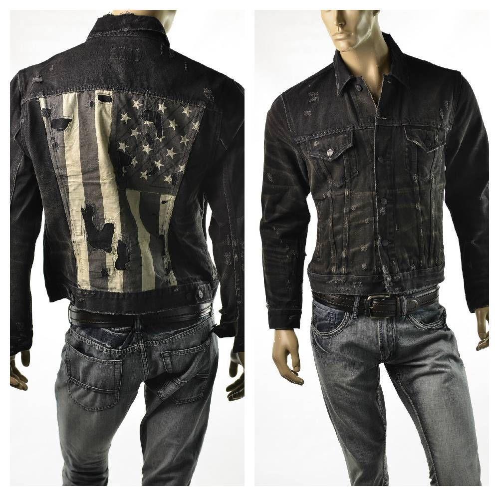 Ralph Lauren US Flag Jacket Men's Black Denim & Supply