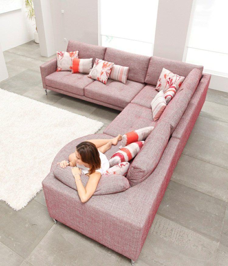 modernes wohnzimmer - wohnlandschaft in rosa   ideen rund ums haus, Wohnzimmer