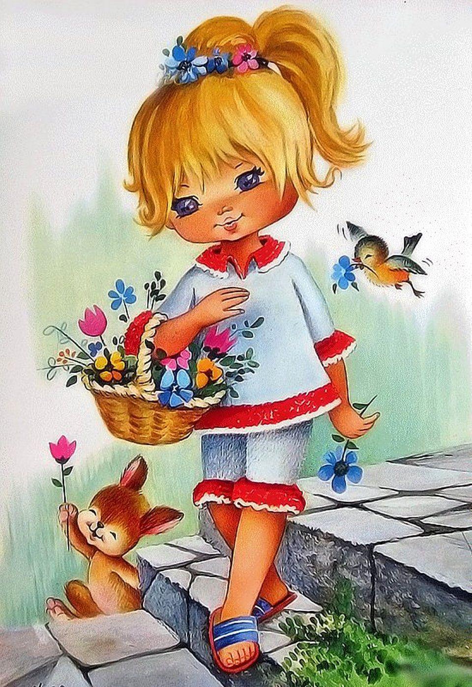 Открытка днем, дети открытки рисованные