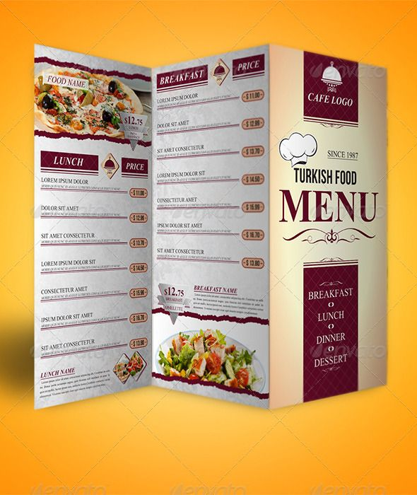 Trifold Menu Template (Food Menus) Restaurant Food Menus Graphic - sample cafe menu template