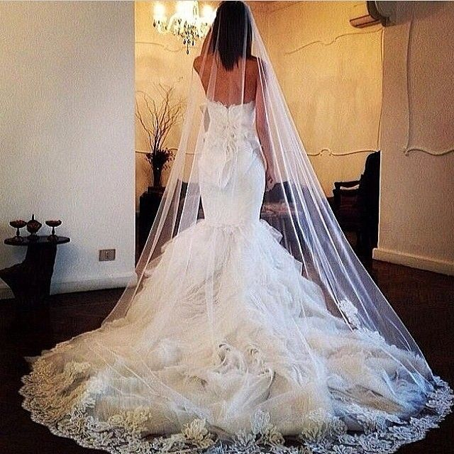 Chapel length wedding dress
