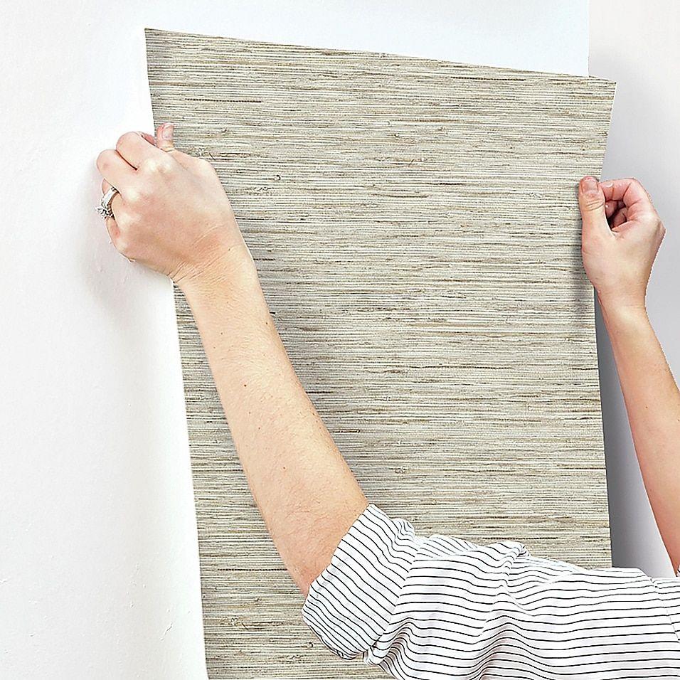 Roommates Peel Stick Grasscloth Wallpaper In Tan Grasscloth Wallpaper Grasscloth Peel And Stick Wallpaper