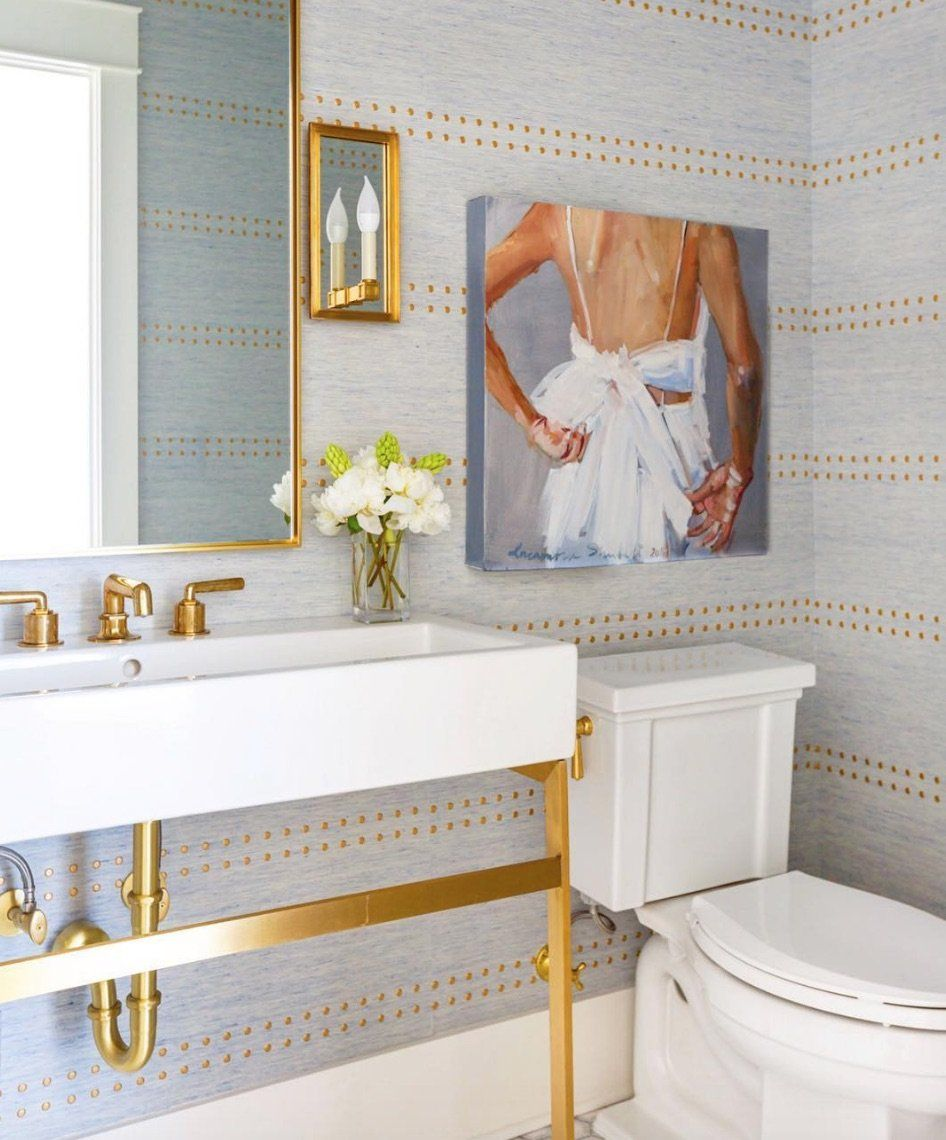 Linear And Lively Bathroom Wallpaper Modern Powder Rooms Powder Room Wallpaper