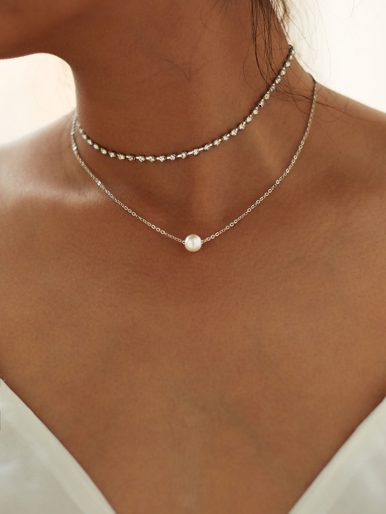 2pcs Womens Infinity Choker Necklace Gold and Silver Colour Chain Pendant Charm