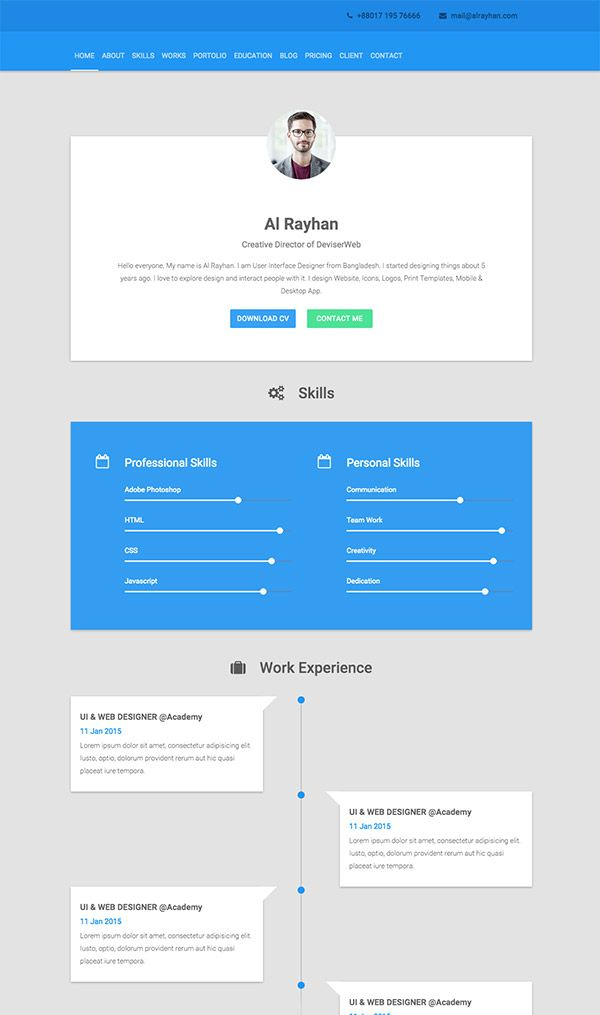 5 Examples of Beautiful Resume/CV Web Templates Personal Web Pages