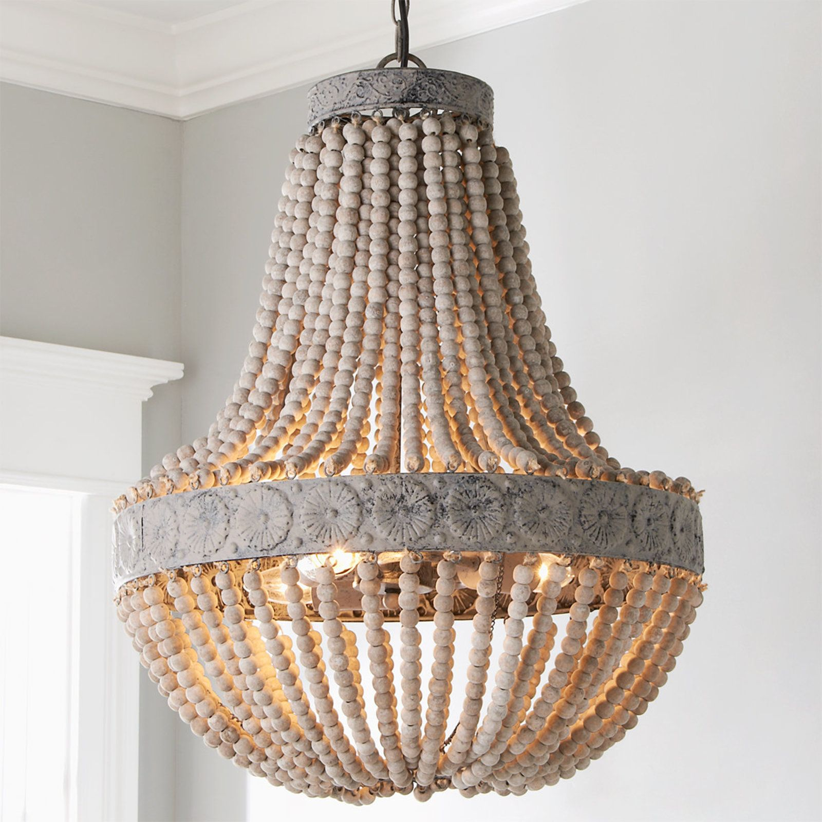 Aged Wood Beaded Chandelier 3 Light Wood Bead Chandelier