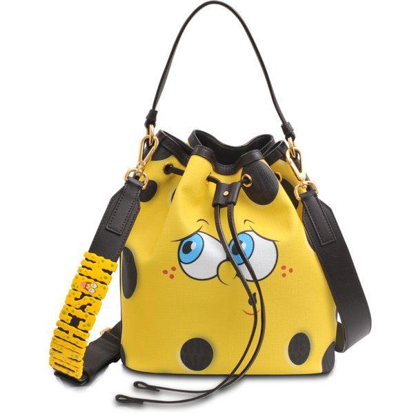 Moschino Sponge Bob Bucket Bag (2.065 BRL) ❤ liked on Polyvore featuring bags, handbags, shoulder bags, yellow shoulder bag, single strap shoulder bag, moschino shoulder bag, studded bucket bag and yellow handbags