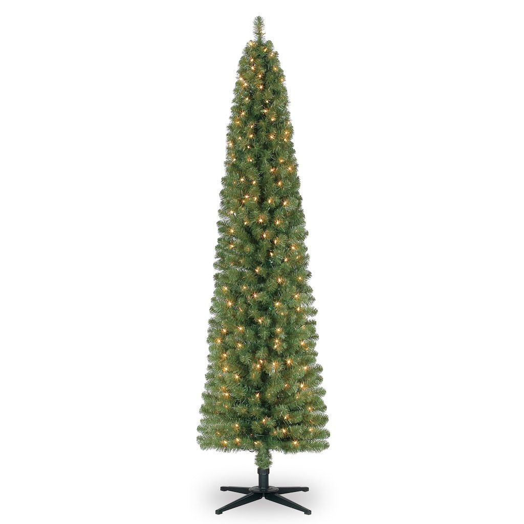 7ft Pre Lit Artificial Christmas Tree Clear Lights By Ashland In 2020 Pencil Christmas Tree Christmas Tree Clear Lights Christmas Tree