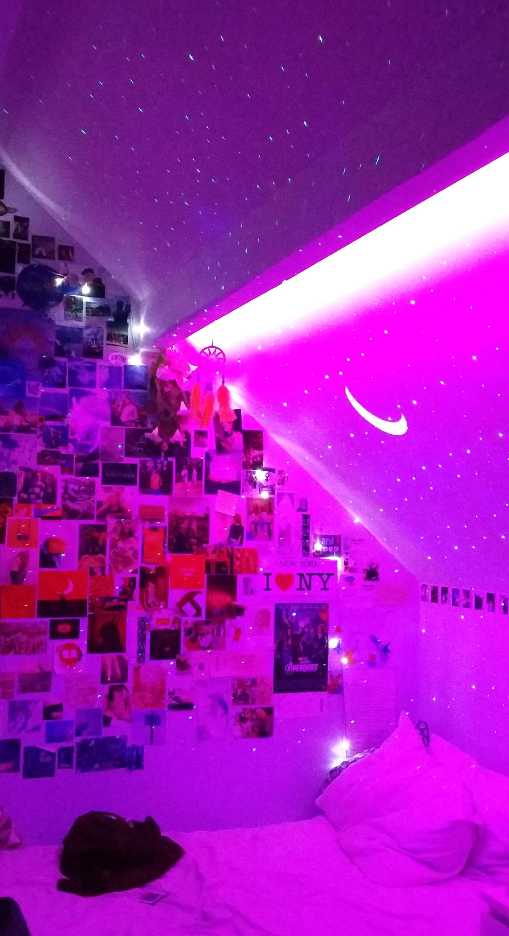 Aesthetic Tik Tok Room Led Lights Collage Wall Vsco Room Skylite Projector Bedroom Inspo In 2020 Neon Room Room Inspiration Bedroom Indie Room