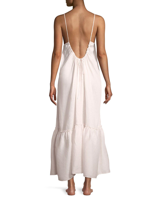 45a8e0e611 Pour Les Femmes Long Low-Back Ruffled Linen Nightgown