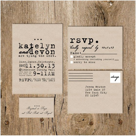 Cursive Wedding Invitations: Cursive Typewriter Wedding Invitation On By