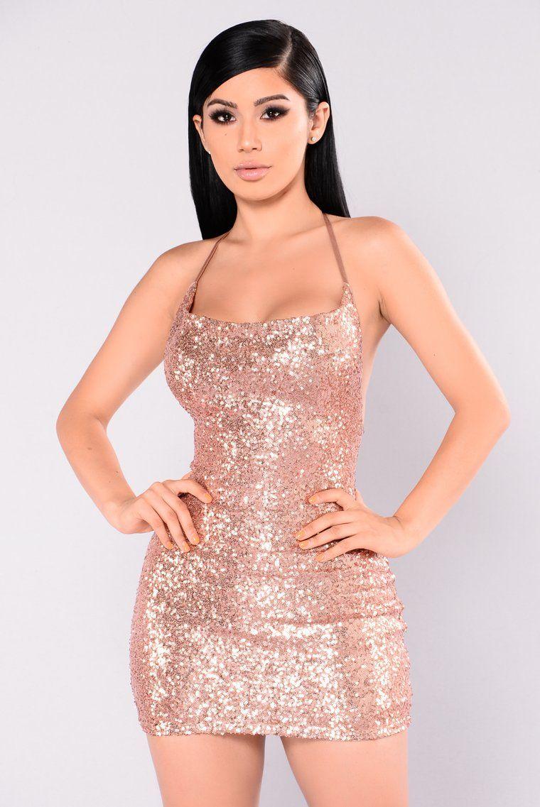 Start The Show Sequin Dress Rose Gold Gold Dress Short Sequin Dress Rose Gold Sequin Dress