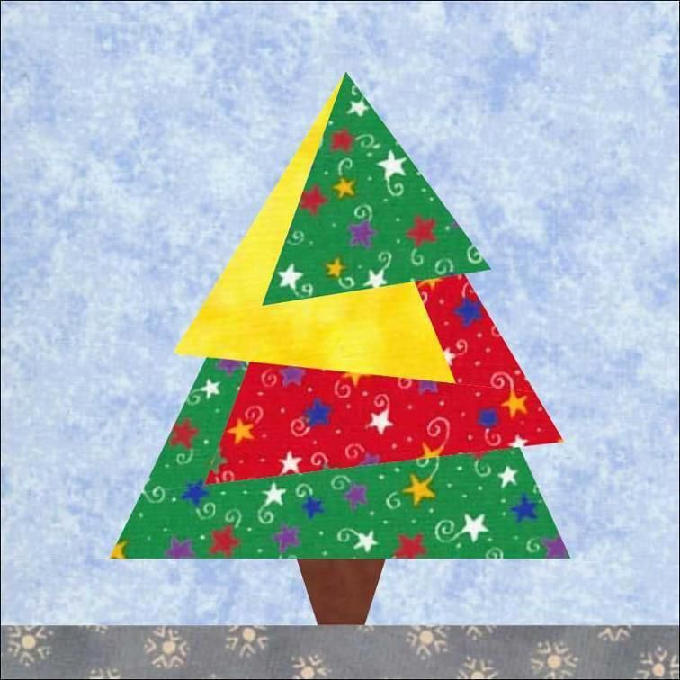 Paper Pieced Christmas Tree Pattern: Christmas Tree #2 Paper Pieced Quilt Block