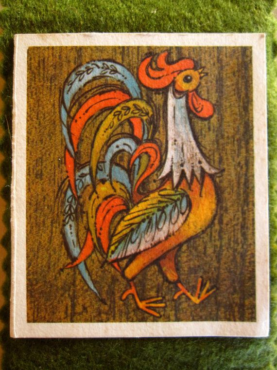 4 VINtAGE ROOSTER NOTEPADS Green & Black Felt by RandomAwesomeness, $14.95