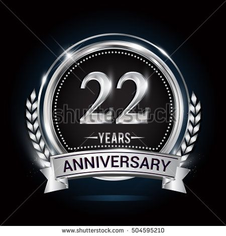 22 years silver anniversary logo with laurel wreath ribbon and