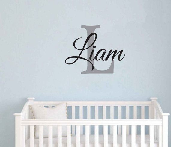 FREE SHIPPING Liam Monogram Wall Decal Personalized Name - Monogram wall decal for kids