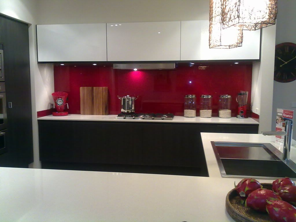 Love red trying to decide what colour backsplash splash for Red and black kitchen backsplash