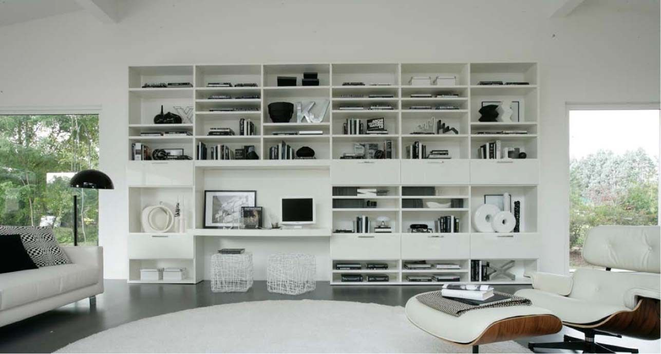 Logo 206 Wall Unit With Bookcase System By Sangiacomo, Italy Has Bookcase  In Mat Lacquered