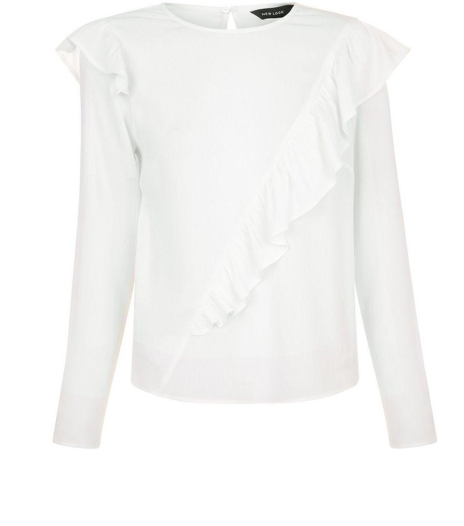 White asymmetric frill trim long sleeve top shopping